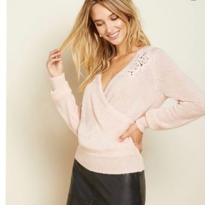 Lace Applique Faux Wrap Sweater with Deep V